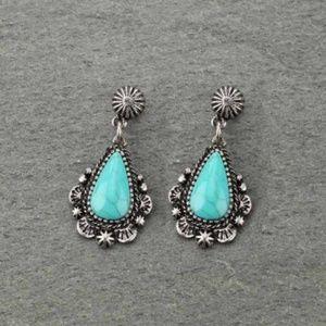 Western Teardrop Turquoise Post Earrings